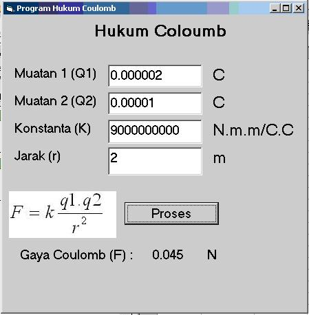 Tampilan program Hukum Coulomb