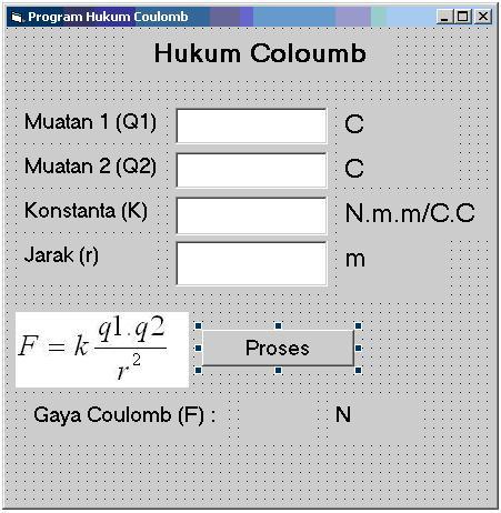 Desain program Hukum Coulomb