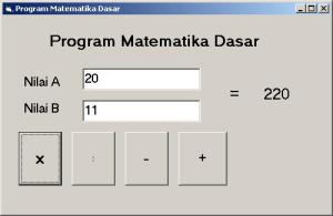 Tampilan program Matematika